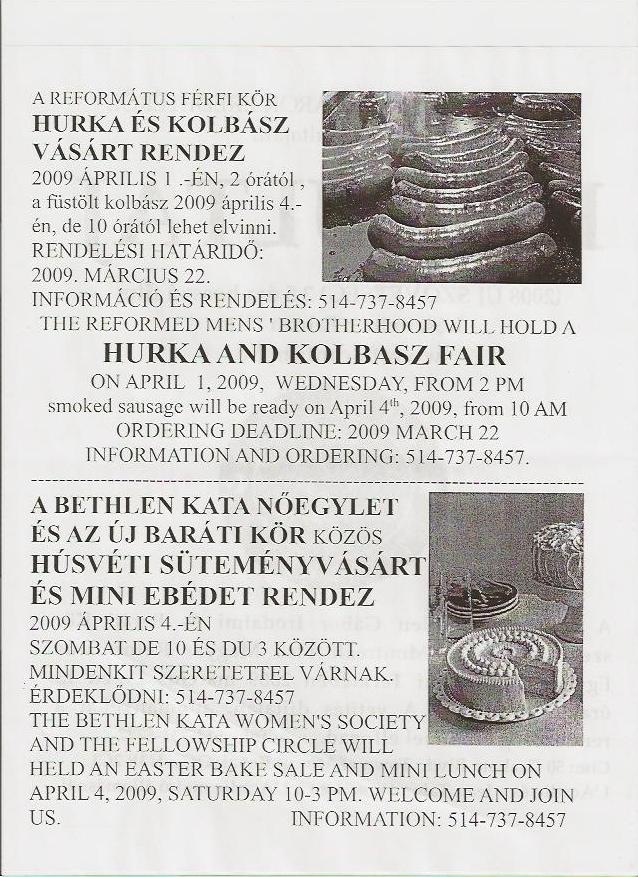 Vásár a montreáli Első Magyar Református Egyházban