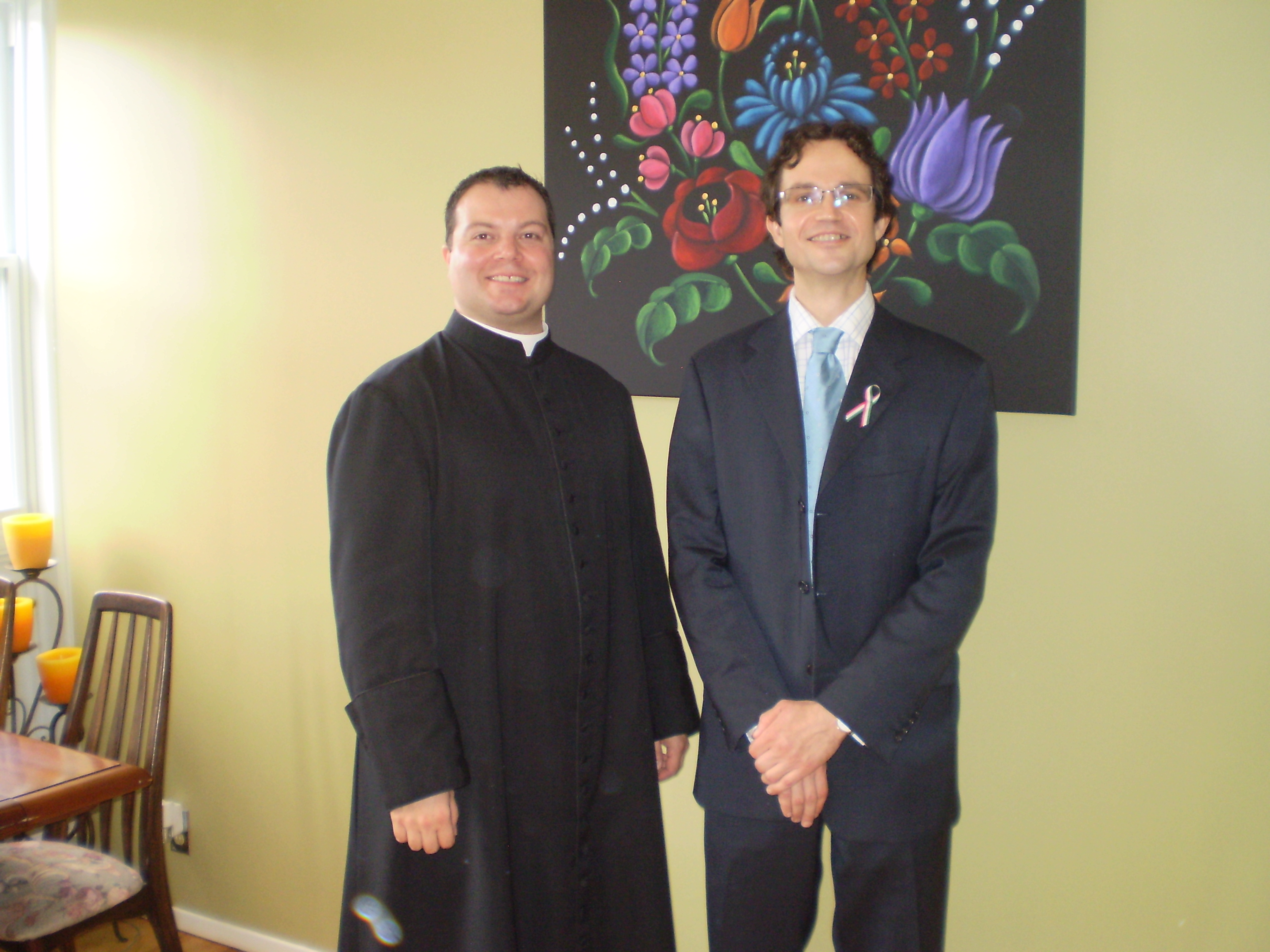 Fr. Tams with Tams Kirly of the Hungarian embassy (Photo: C. Adam)