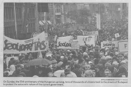 A budapesti millások tüntetése a Montreal Gazette-ben