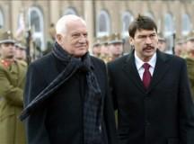 Václav Klaus cseh elnök Áder Jánossal (Forrás: KEH)