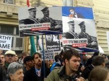 Horthy szoboravatásra érkező ellentüntetők. Fotó: Garai-Édler Eszter