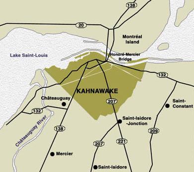 Kahnawake területe. A rezervátum Montreáltól közvetlenül délre fekszik.