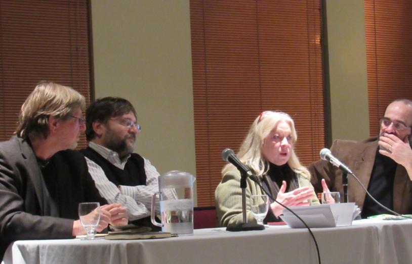 Montreáli panelbeszélgetés Magyarországról. Fotó: Göllner András, Bozóki András, Kim Lane Scheppele, Daniel Salée.