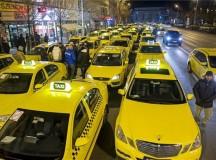 Taxisblokád Budapest belvárosában, január 18-án. Fotó: MTI.