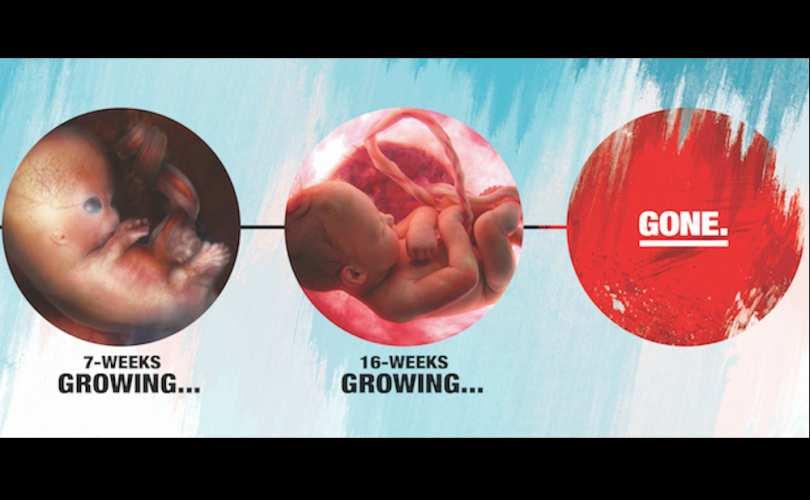 Abortuszellenes reklámok Grande Prairie-ben.