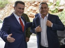 epa06232243 Former Macedonian Prime Minister Nikola Gruevski (L) welcomes Hungarian Prime Minister Viktor Orban (R) in Ohrid, The Former Yugoslav Republic of Macedonia, 28 September 2017. Hungarian  Prime Minister Viktor Orban arrived in Ohrid to meat the leader of  opposition VMRO DPMNE and Former PM  Nikola Gruevski on the start of election campaign for the local election. Macedonia will vote for the local election on 15 October 2017.  EPA-EFE/ALEKSANDAR KOVACEVSKI