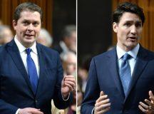 Andrew Scheer konzervatív miniszterelnök-jelölt és Justin Trudeau liberális kormányfő.