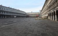 "VENICE, ITALY - MARCH 9: A completely empty San Marco Square is seen on March 9, 2020 in Venice, Italy. Prime Minister Giuseppe Conte announced a ""national emergency"" due to the coronavirus outbreak and imposed quarantines on the Lombardy and Veneto regions, which contain roughly a quarter of the country's population. Italy has the highest number of cases and fatalities in Europe.  The movements in and out are allowed only for work reasons, health reasons proven by a medical certificate.The justifications for the movements needs to be certified with a self-declaration by filling in forms provided by the police forces in charge of the checks. (Photo by Marco Di Lauro/Getty Images)"
