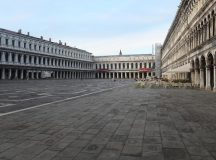 """VENICE, ITALY - MARCH 9: A completely empty San Marco Square is seen on March 9, 2020 in Venice, Italy. Prime Minister Giuseppe Conte announced a """"national emergency"""" due to the coronavirus outbreak and imposed quarantines on the Lombardy and Veneto regions, which contain roughly a quarter of the country's population. Italy has the highest number of cases and fatalities in Europe.  The movements in and out are allowed only for work reasons, health reasons proven by a medical certificate.The justifications for the movements needs to be certified with a self-declaration by filling in forms provided by the police forces in charge of the checks. (Photo by Marco Di Lauro/Getty Images)"""