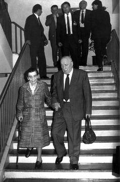 1988.05.21. Kádár János és felesége a Magyar Szocialista Munkáspárt országos értekezletének szünetében. Fotó: MTI Kovács Attila TT 880521/249 FF